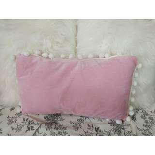 [BN] Pink and White Pom Pom Cushion Pillow Throw