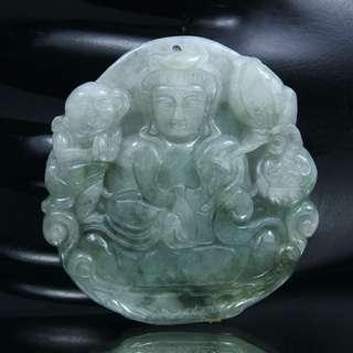 珍珠林~求子利器~A貨天然緬甸翡翠飄綠翠玉~送子觀音玉墬#665