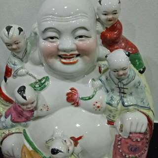 Sweet Nice Chinese Vintage Laughing Buddha With 5 Cute Kids For Good Luck ,  Good Health And Propersity