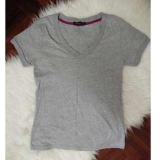 [BN] Garage Basic Brands Outlet Plain Grey V Neck Top Shirt Blouse Short Sleeve Basic
