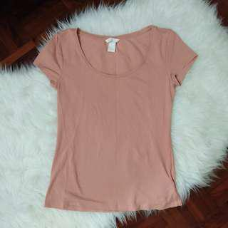 [BN] H&M Basic Dusty Rose Millennial Pink Jersey Stretchable Round Neck Plain Short Sleeve Top