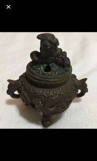 {Collectibles Item - Vintage Bronze Burner} Carving With Dragon & Phoenix (龍與鳯凰) Antique Bronze Burner