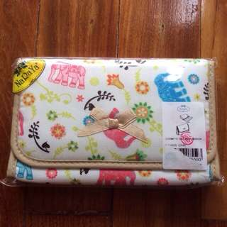 🚚 New Elephant Motif Cream Naraya Medium Cosmetics Pouch With Mirror