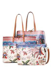 Desigual 3-in-1 Reversible Shopper Bag Cheri Seattle 一套兩件 大袋雙面可用 肩背/手提/斜揹 黑白民族圖案 Bag & Play