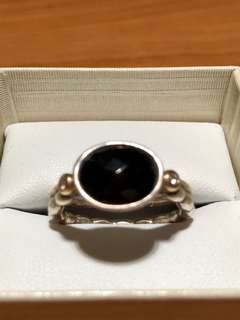 Pandora Silver 925 Gold Black Onyx 0.04ct Diamond Stacking Ring Size O Retired rare hard to find