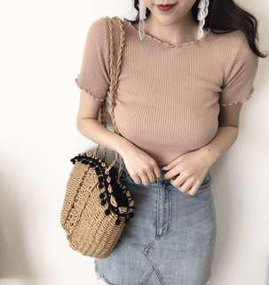 INSTOCK beige ribbed top