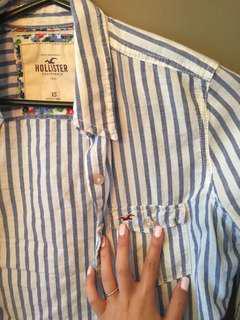Hollister baby blue button up shirt