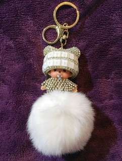Monchichi Fur Ball with Crystals and Rhinestones Bag Charm/Keychain