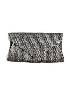 Grey silver woven envelop clutch with gold chain