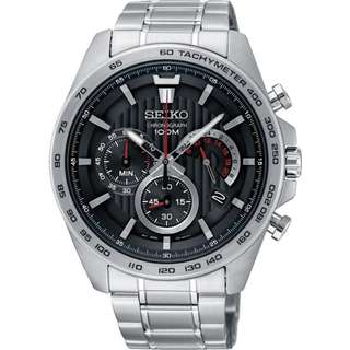 only hk$940,100% new SEIKO Chronograph Black Dial Men's Watch Item No. SSB299P1手錶