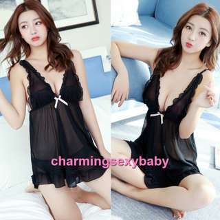 Sexy Lingerie Black Cosume Baju Tidur Pajamas Dress + G-String Sleepwear BH7284
