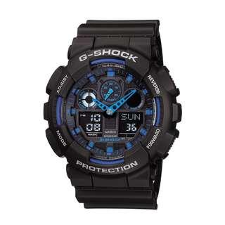 only hk$550,100% new Casio Men's G-Shock Analog-Digital GA-100-1A2DR watch手錶