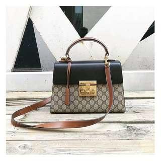Gucci padlock拼色二手正品手提袋
