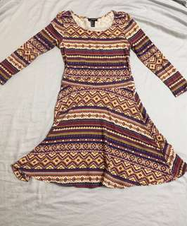 Forever 21 Aztec Print Long sleeves dress