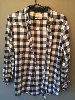 Checkered floral plaid shirt