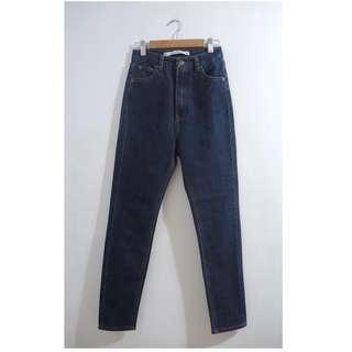 (私)全新 深色高腰牛仔褲
