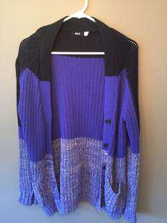 Urban outfitters black and blue cardigan