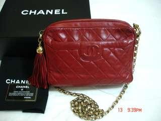 Vintage Chanel紅色羊皮流蘇camera bag 23x17x6.5cm