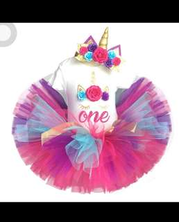 Unicorn 1st birthday party Tutu dress romper skirt and headband set