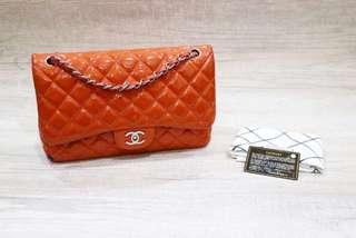 Chanel jumbo Orange patent leather double flap #16 SHW (bag holo card db)