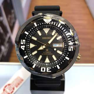 only hk$2699,100% new SEIKO PROSPEX 200M AUTOMATIC BABY TUNA BLACK/GOLD REF. SRPA82J1手錶