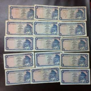 15 Brunei $1 First Series 1967 Notes