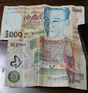 Currency Brazil and zambia money