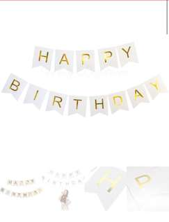 Happy birthday banner in white