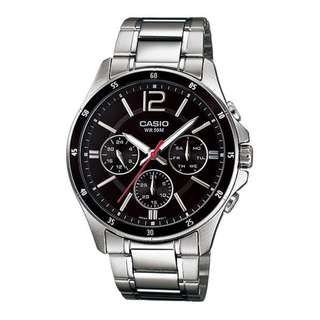 only hk$348, 100% new Casio MTP-1374D-1 New Original Analog Silver Stainless Steel Mens Watch MTP1374D手錶