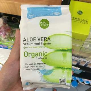 Aloe vera serum wet tissue