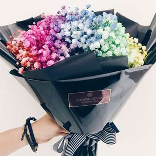 Rainbow baby's breath bouquet