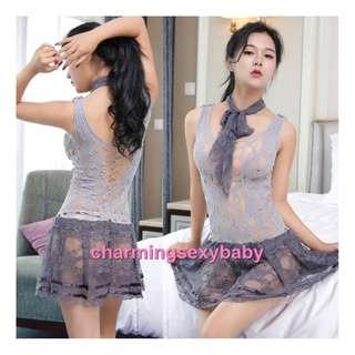 Sexy Grey Fishnet Body Stocking Dress Hosiery Sexy Lingerie Sleepwear Baju Tidur WWL6023
