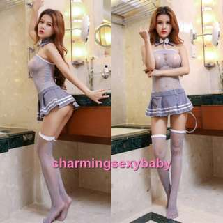 Sexy Grey Fishnet Body Stocking Dress Hosiery Sexy Lingerie Sleepwear Baju Tidur Nightwear WWL6040