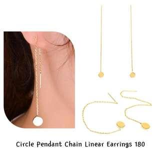 Circle pendant chain linear earrings