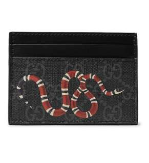 Gucci Printed Snake Coated Canvas Cardholder (101% Authentic)