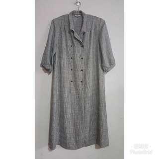 《壓箱寶》二手古著 【日本製】灰色雙排釦洋裝