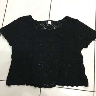 H&M Black Knitted Crop Top