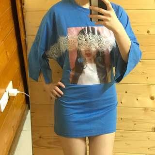 🚚 全新 藍色 蕾絲 嘻哈上衣🤗