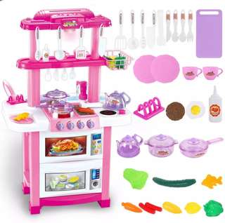 BN 83CM Pink Kitchen w/Lights & Sounds Cooking Utensils Play Set ~ Pink