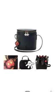 Mickey bags 黑色皮米奇袋斜孭袋