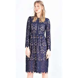 Zara Navy Blue Lace Guipure Embroidered Crochet Midi Dress Unused w/ TAG HK$999 or P6,804 / Self-Portrait