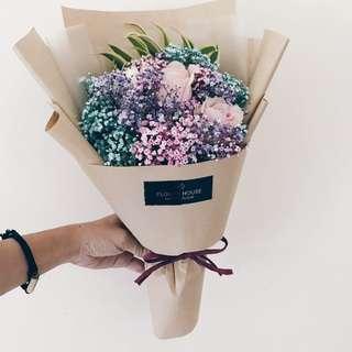 2s rose baby's breath bouquet
