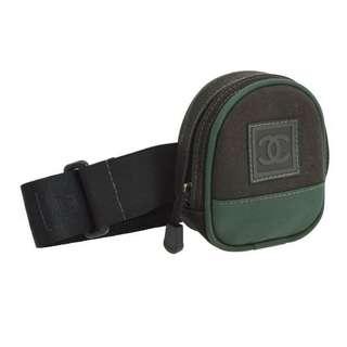 Vintage Chanel黑色x軍綠色拼布運動腰包waistbag 12x9.5x4cm
