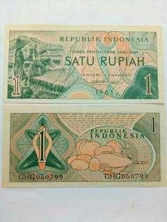 Uang kuno /uang lama (1 Rupiah seri sandang pangan tahun 1961 #UNC)