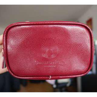 Red Faux Leather Makeup  Pouch Cosmetic Bag