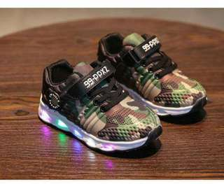 Green Army LED Kids Shoes