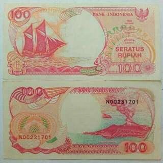 Uang kuno /uang lama koin dan kertas (100 rupiah perahu pinishi thn 1992 #UNC)