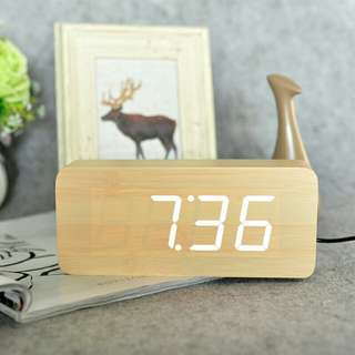 [LARGE DISCOUNT] Wooden Multi-functional Modern LED Digital Desk Clock, Portable Clock, Classy And Inexpensive, Table Clock, Office And Home Decor, Ready Local Stock, Local Delivery, 200×90×45mm, LARGEST SIZE