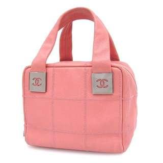 Vintage Chanel櫻花粉魚子醬方格紋手提袋 20x16x14cm