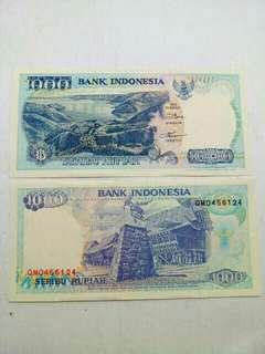 Uang kuno /uang lama (1000 Rupiah thn 1992)